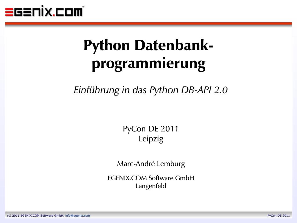 Python Datenbankprogrammierung