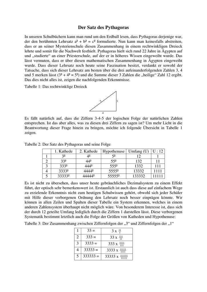 Fantastisch Frei Satz Des Pythagoras Arbeitsblatt Fotos - Mathe ...