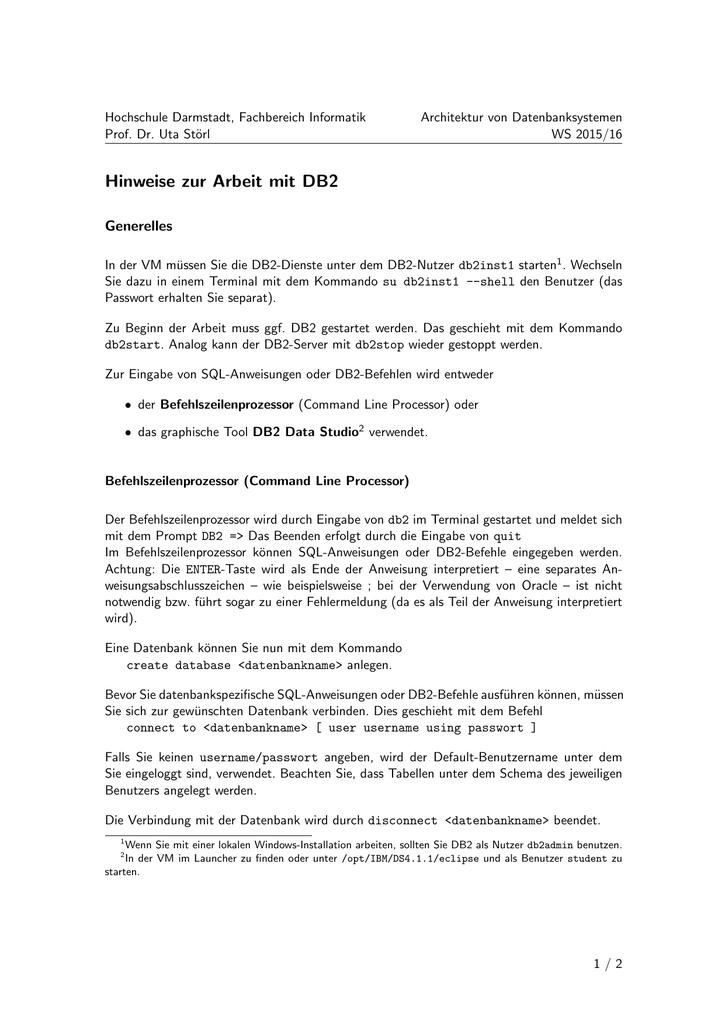 Hinweise zur Arbeit mit DB2 - Fachbereich Informatik Hochschule
