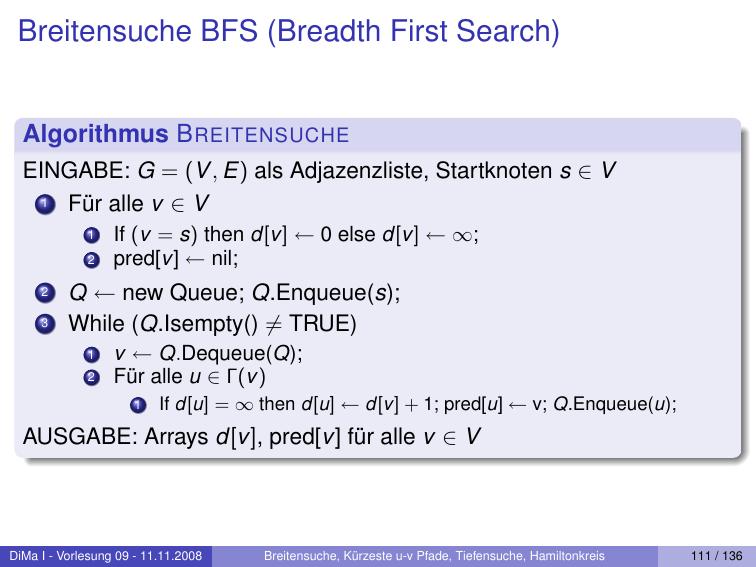 Breitensuche BFS (Breadth First Search)