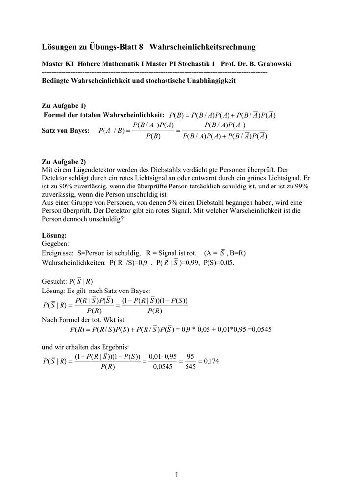 Lösungen zu Übungs-Blatt 8 Wahrscheinlichkeitsrechnung