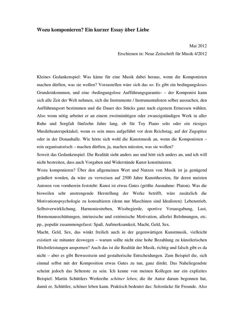 Liebe fürs leben essay