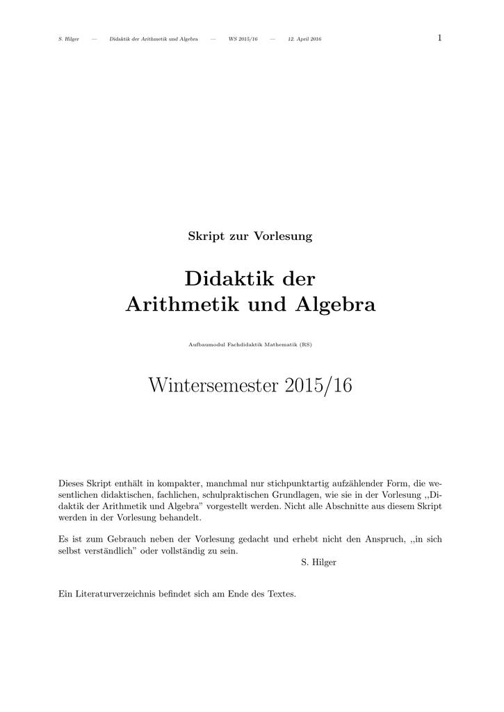 Didaktik der Arithmetik und Algebra Wintersemester 2015/16