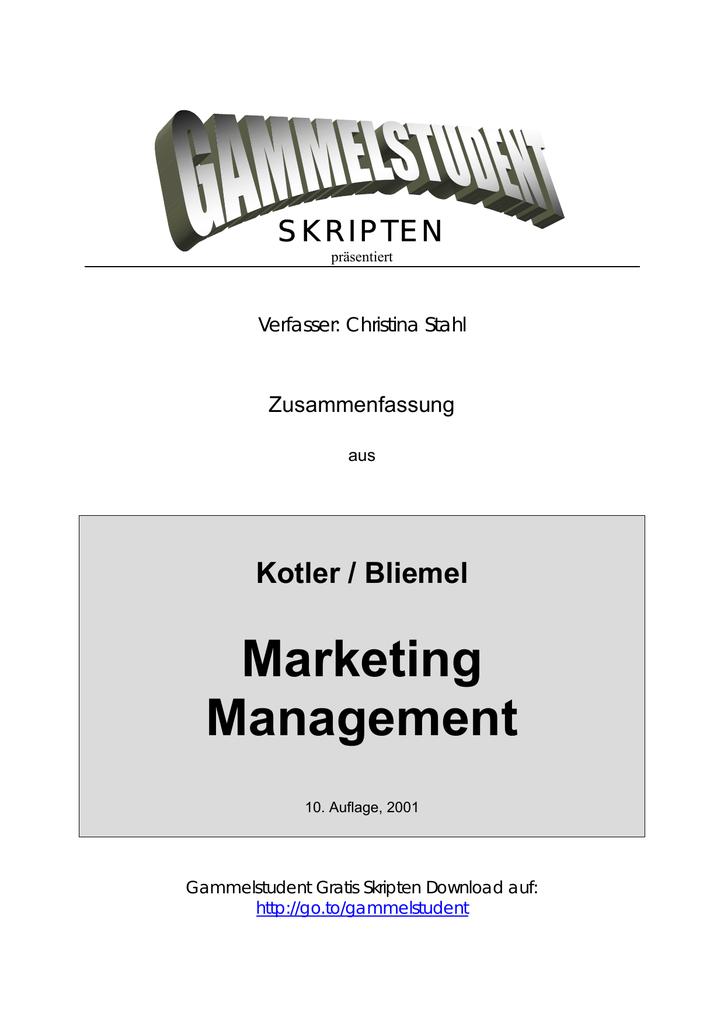 Marketing Zusammenfassung (deutsch) - AG-BWZ