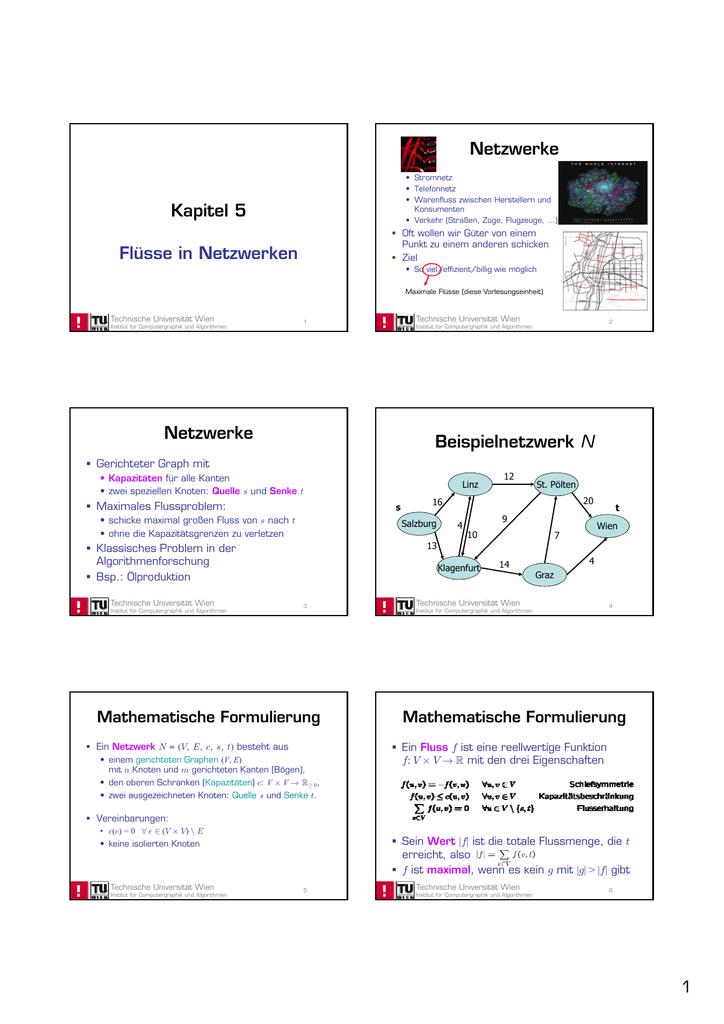 Kapitel 5 Flüsse in Netzwerken Netzwerke Netzwerke