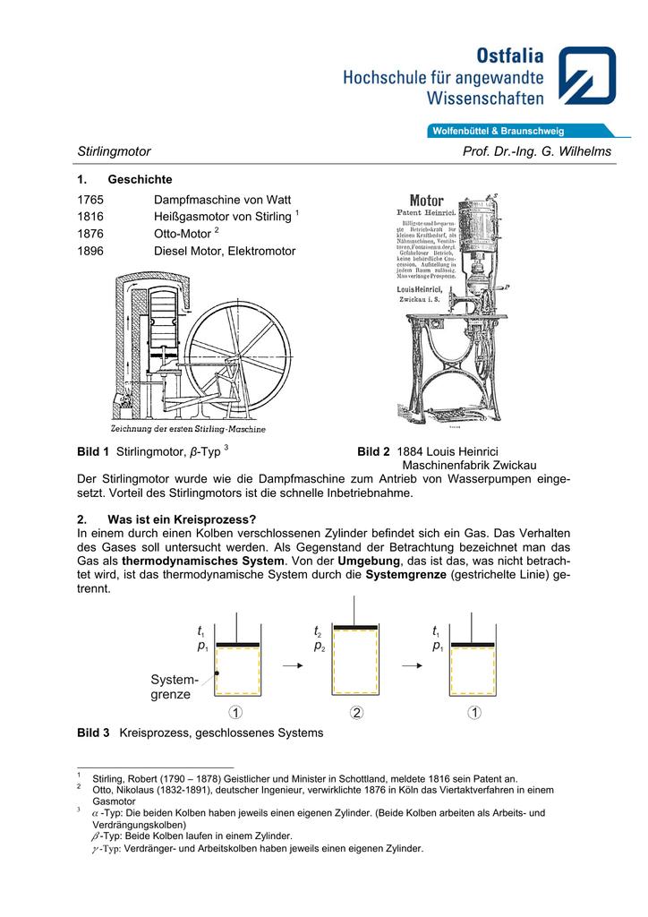 Stirlingmotor Prof. Dr.-Ing. G. Wilhelms 1 System- grenze