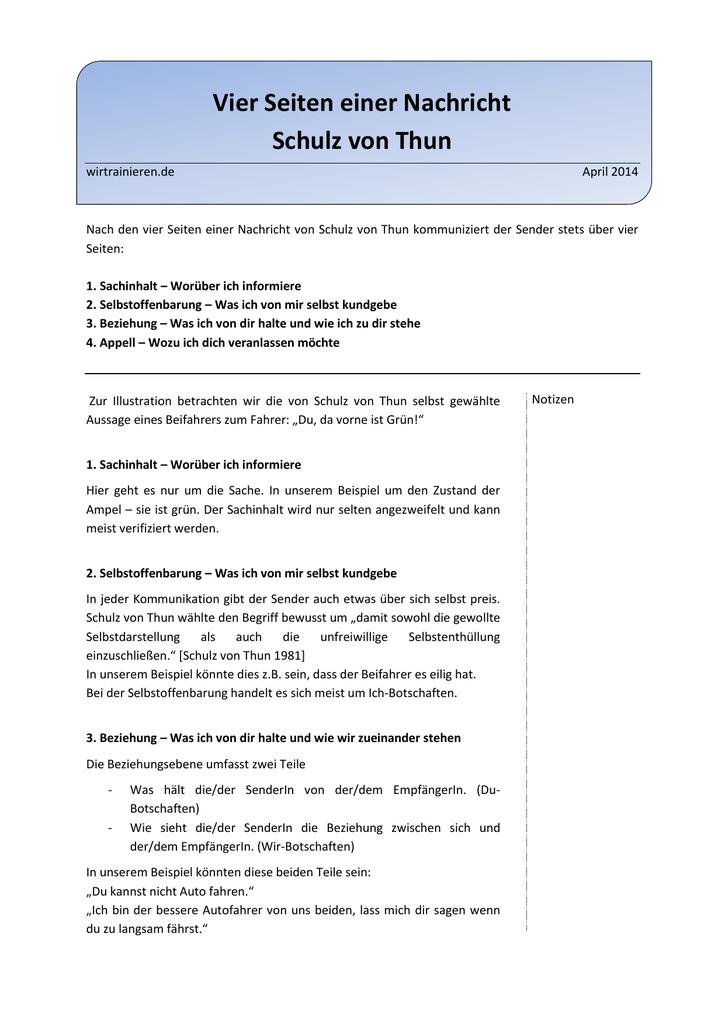 vier seiten einer nachricht schulz von thun - Kommunikationsquadrat Beispiel