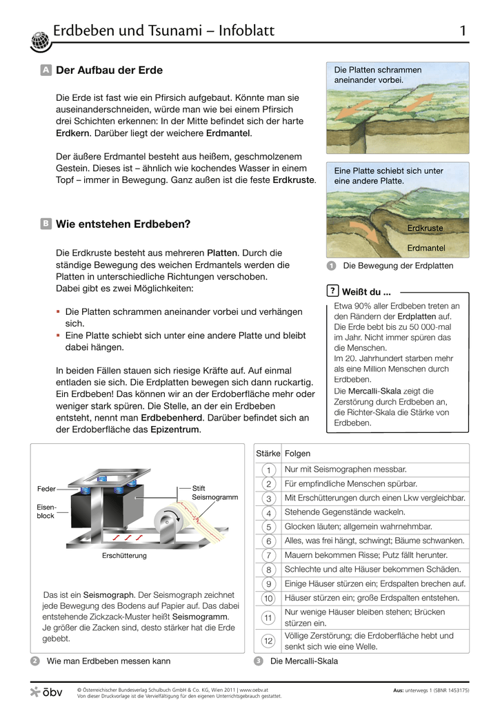 Erdbeben und Tsunami – Infoblatt 1