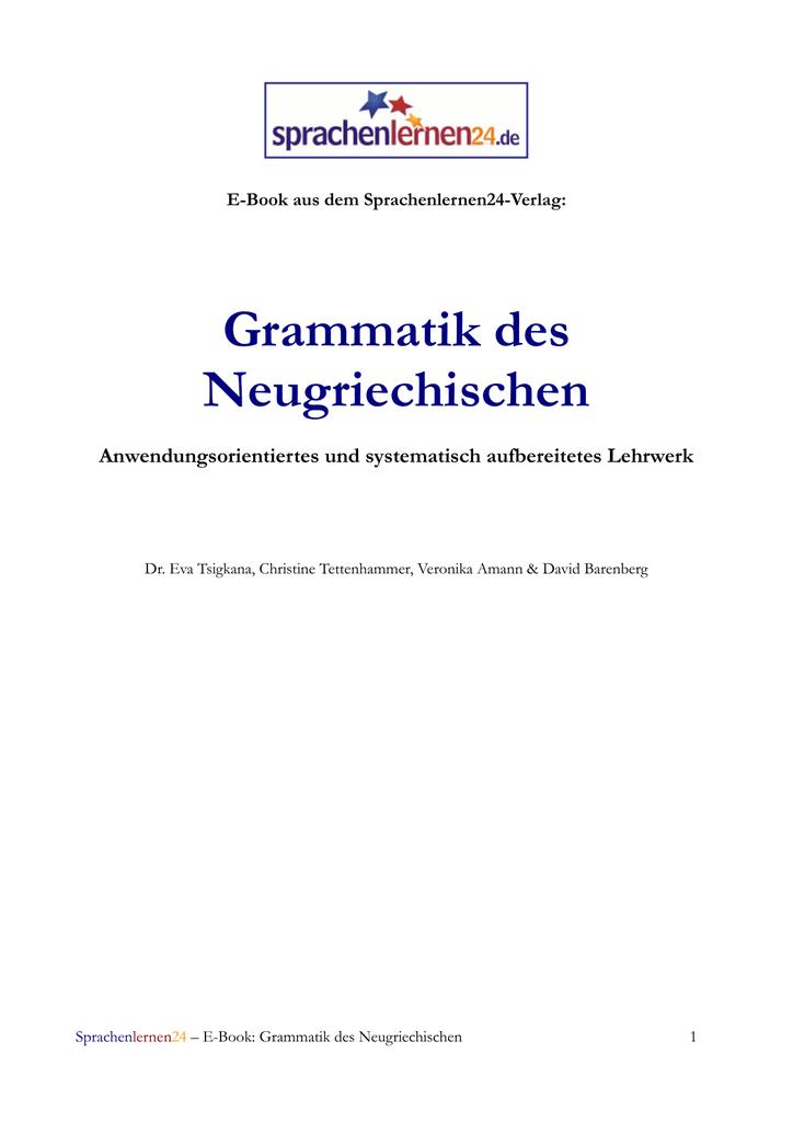 R303244der Weihnachten.Grammatik Des Neugriechischen