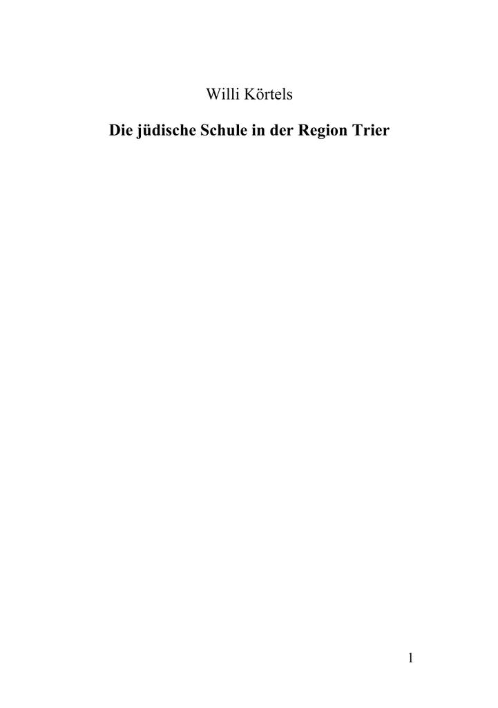 Die jüdische Schule in der Region Trier