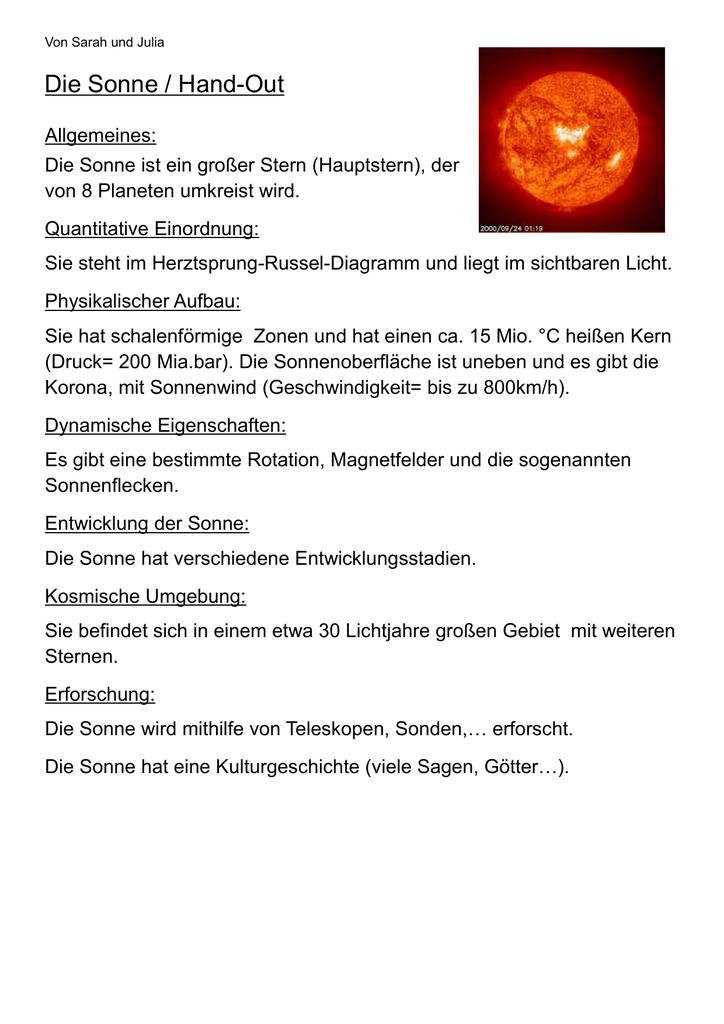 Die Sonne / Hand-Out - Karl-Brachat