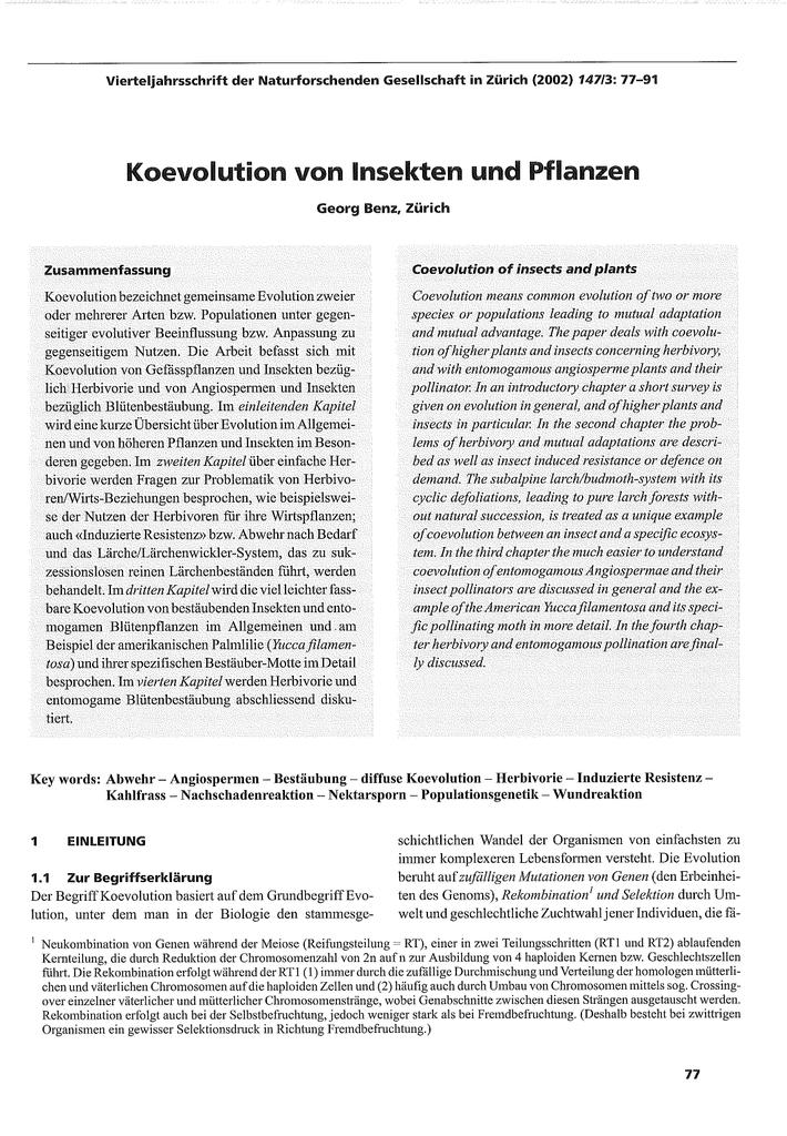 koevolution von insekten und pflanzen - Koevolution Beispiele