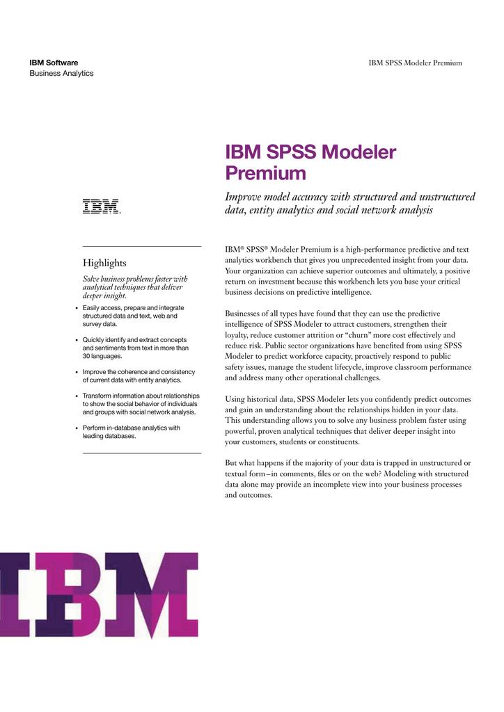 IBM SPSS Modeler Premium