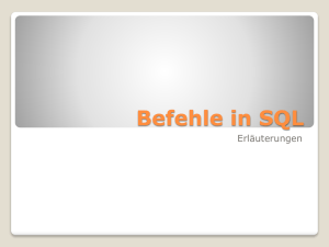 Befehle in SQL - vanessa