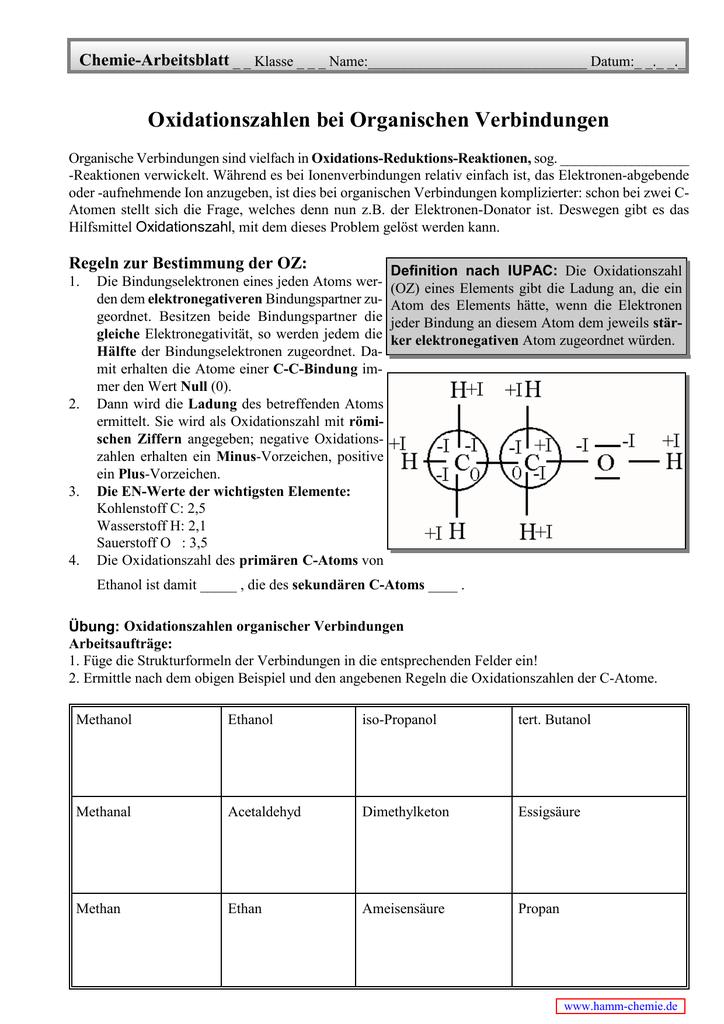Oxidationszahlen bei Organischen Verbindungen - Hamm