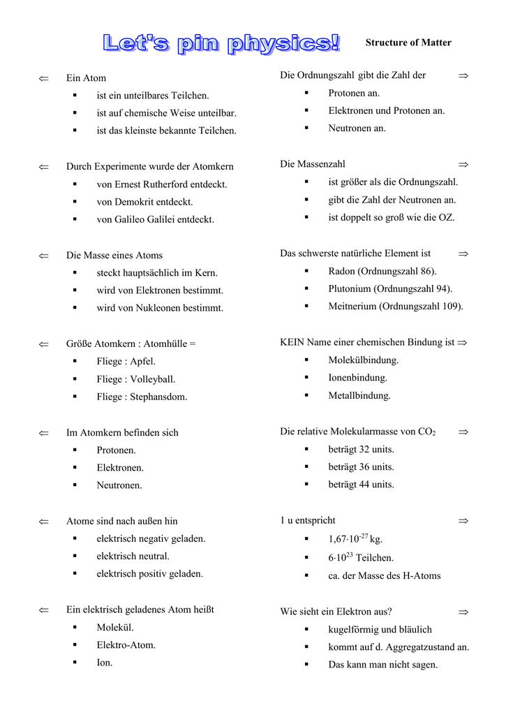 Beste Chemie Ordnungszahl Und Massenzahl Arbeitsblatt Antworten ...