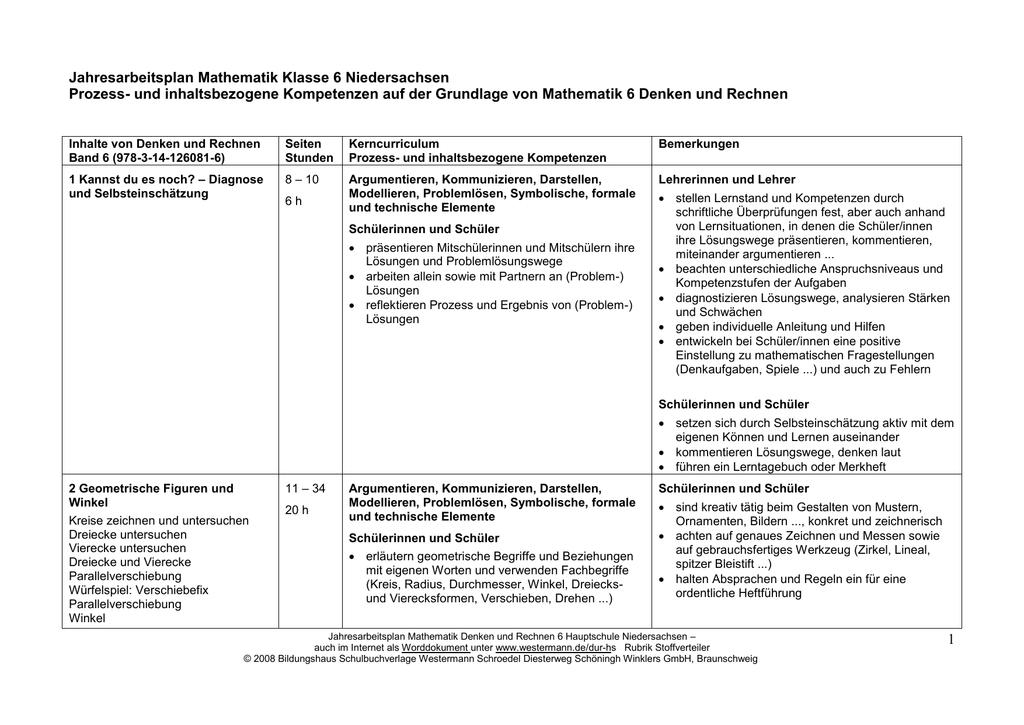 Arbeitsplan Mathematik Denken und Rechnen Klasse 6