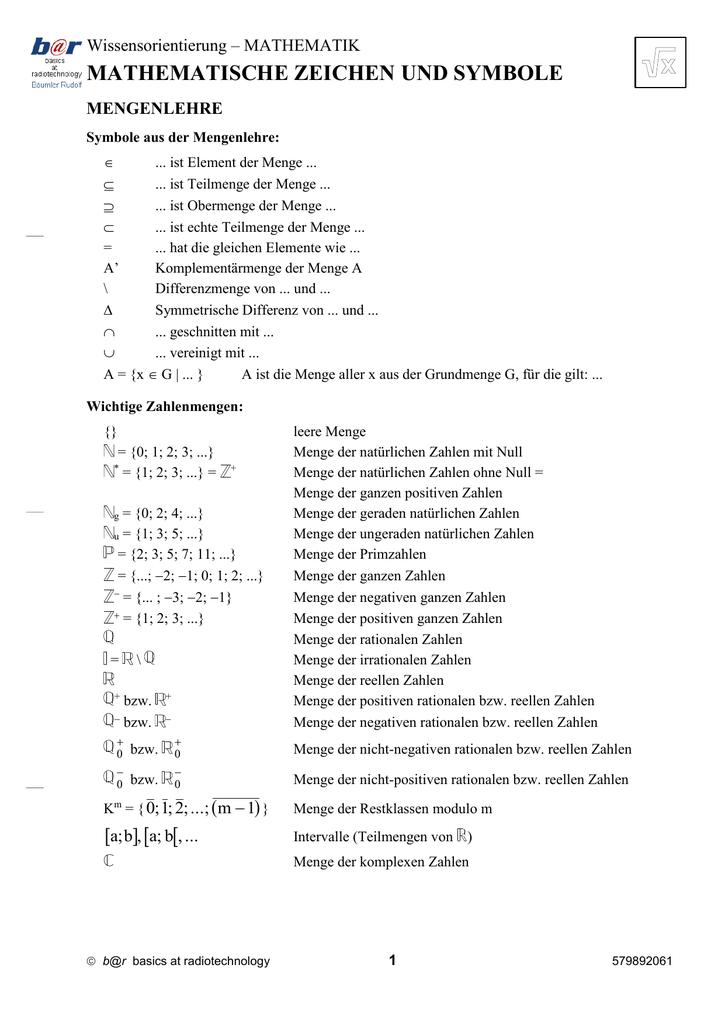 Mathematische Zeichen und Symbole