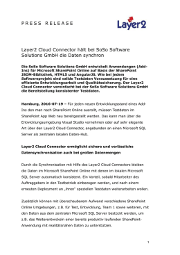 Layer2 Cloud Connector hält bei SoSo Software Solutions GmbH