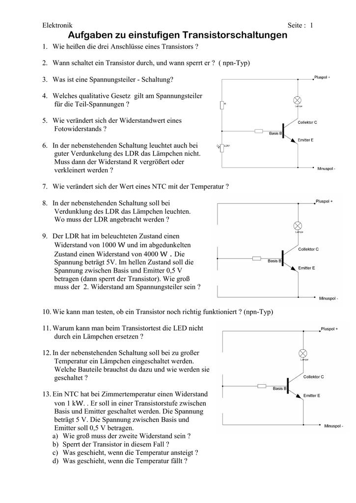 Aufgaben zu einfachen Transistorschaltungen