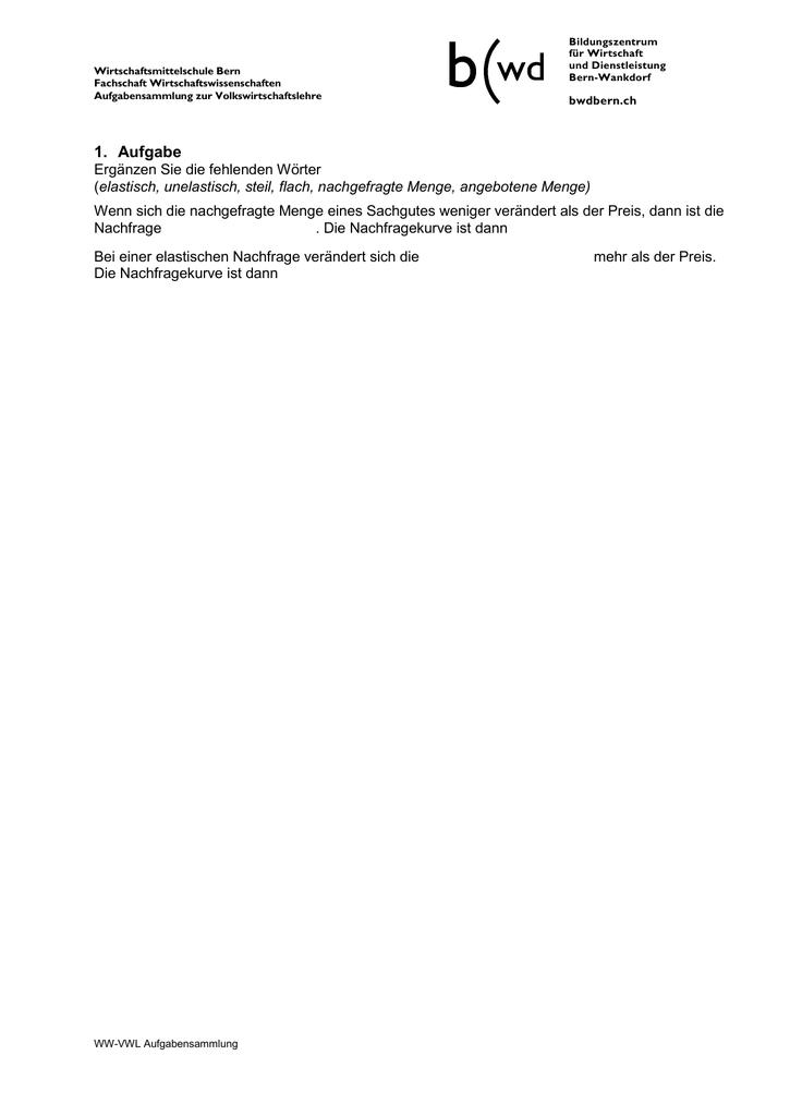Aufgaben zu KapitelMärkte