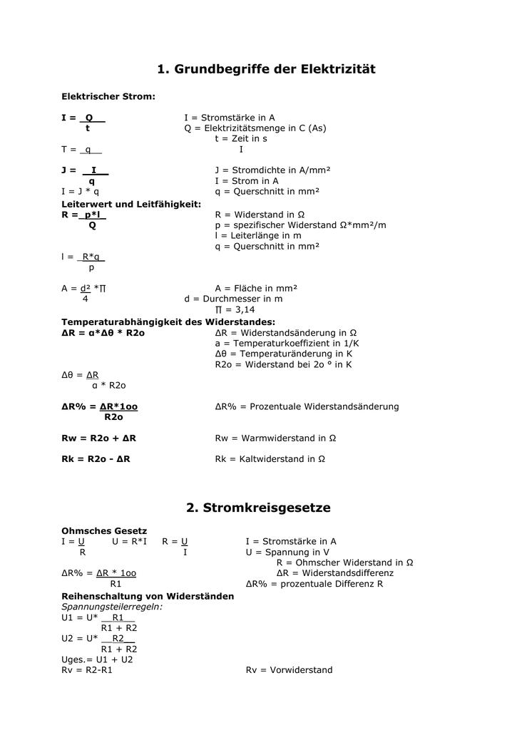 Formelsammlung Arbeit und Leistung - w