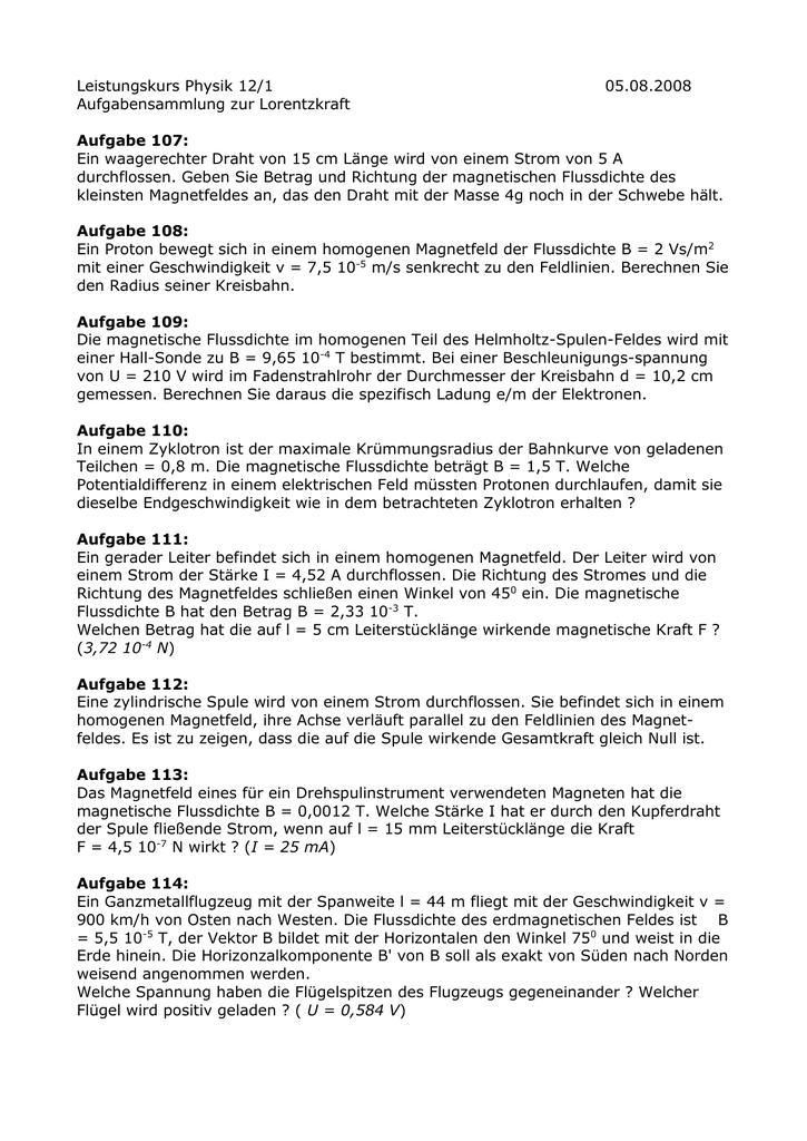 Aufgabenblatt 16 Lorentzkraft