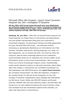 2016-06-27: Microsoft Office 365 Gruppen: Layer2 Cloud Connector