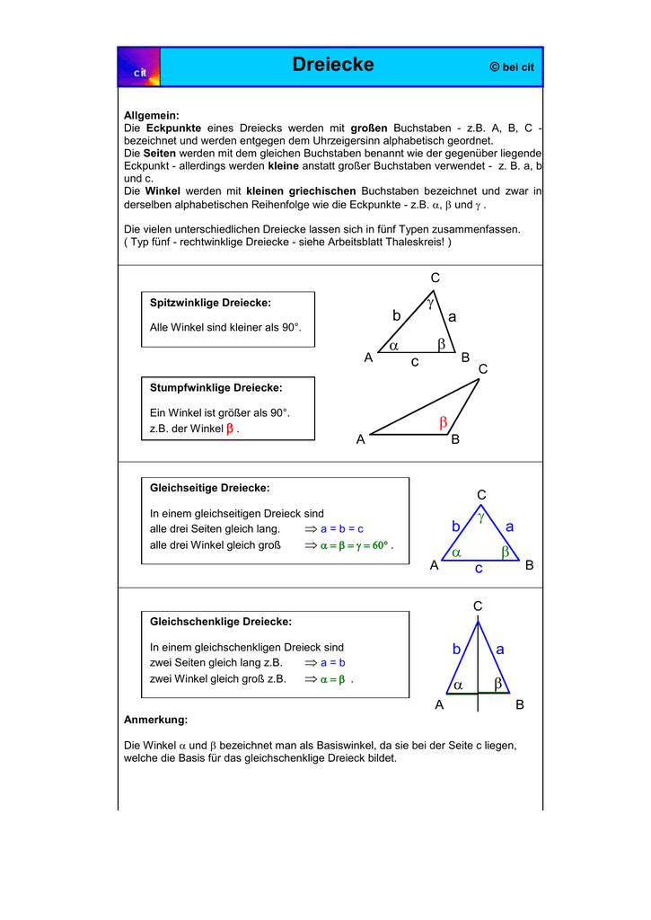 Dreiecke allg.