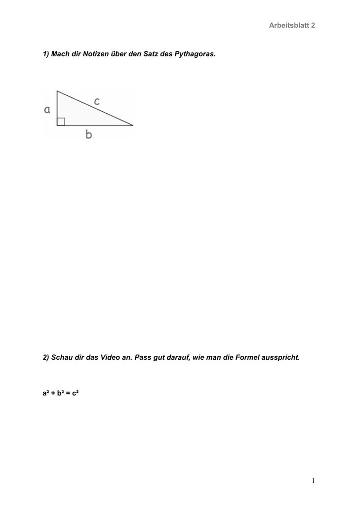 Großzügig Satz Des Pythagoras Arbeitsblatt Mit Antworten Ideen ...