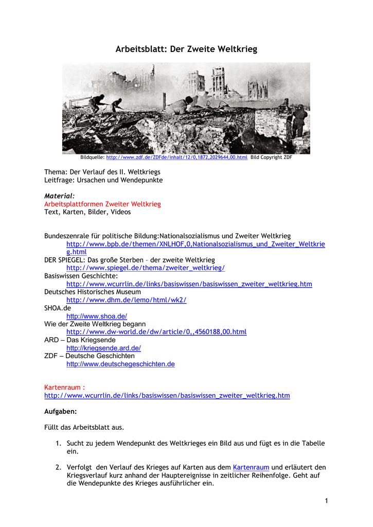 Arbeitsblatt 2: Der Zweite Weltkrieg
