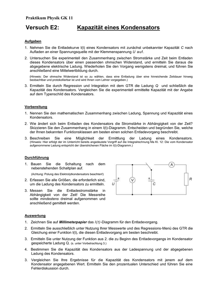 Versuch E2: Kapazität eines Kondensators