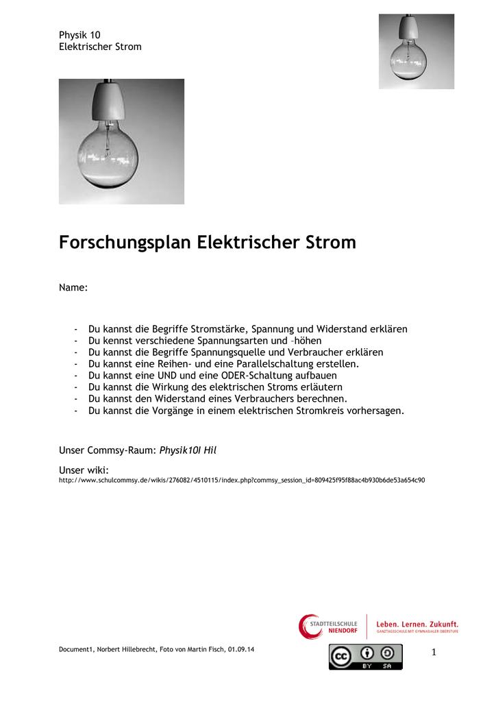 Elektrik Forschungsplan - vomunterrichtzumlernen