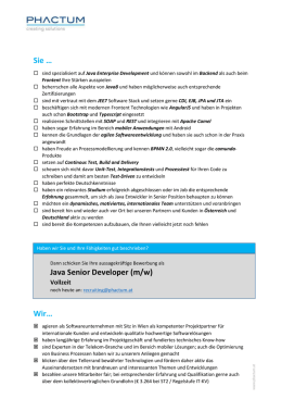 Java Senior Developer (m/w) Vollzeit