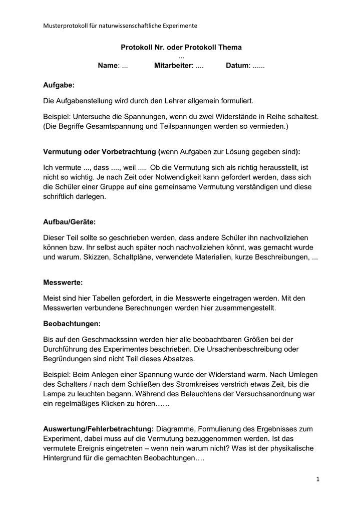 Musterprotokoll Fur Naturwissenschaftliche Experimente Protokoll Nr