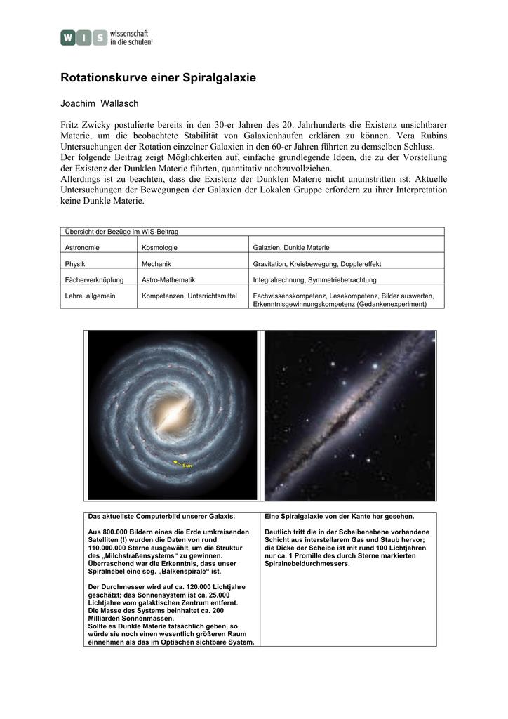 spiralgalaxien rotationskurven neu berechnet