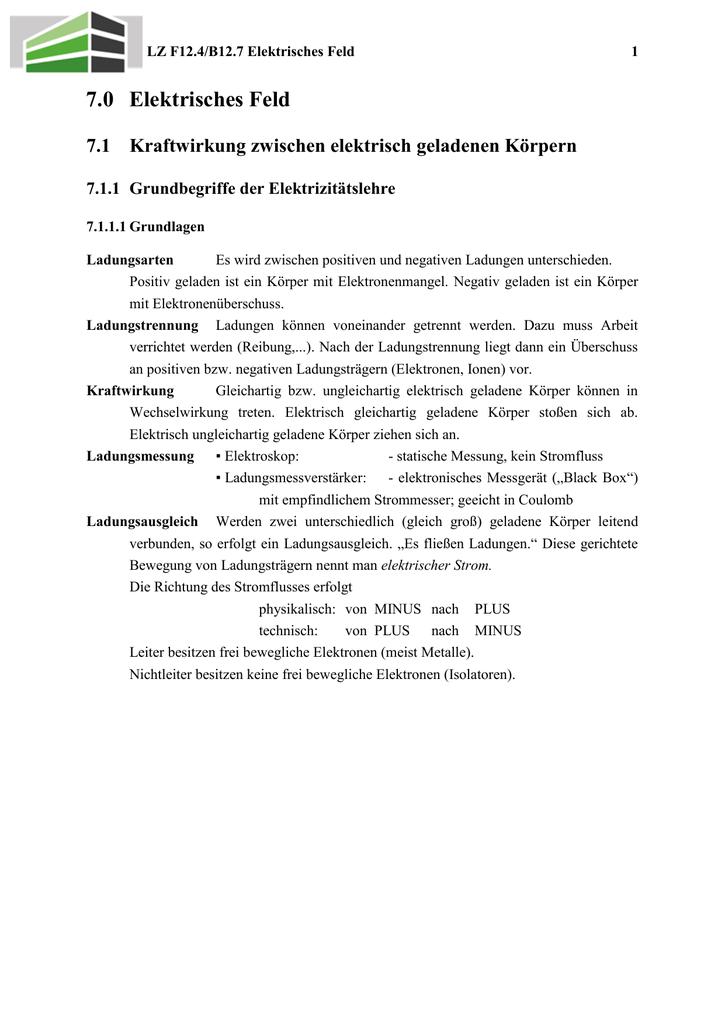 12-4 Elektrisches Feld i - Berufsschule, BOS und FOS Kelheim