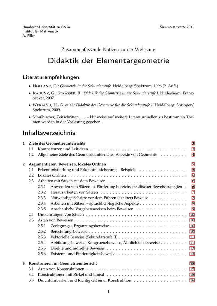 Didaktik der Elementargeometrie - Humboldt