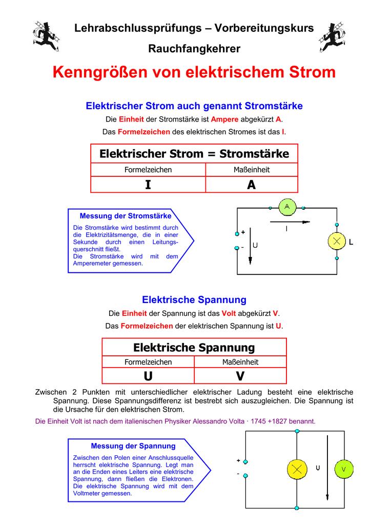 Kenngrossen Von Elektrischem Strom
