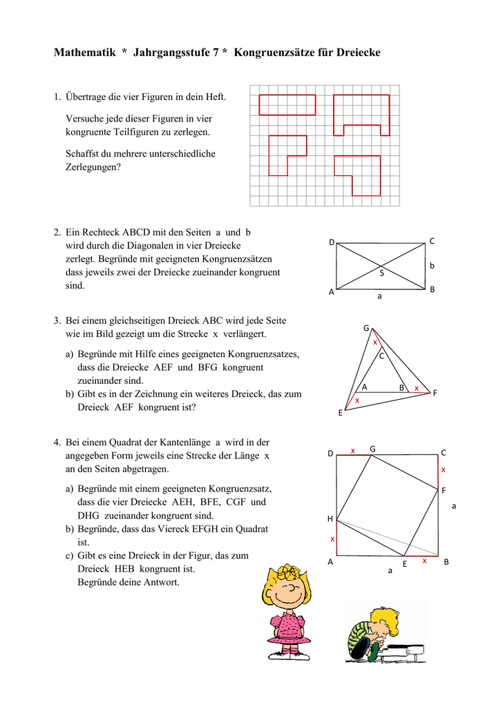 Ungewöhnlich Dreieck Kongruenz Arbeitsblatt Fotos - Arbeitsblätter ...