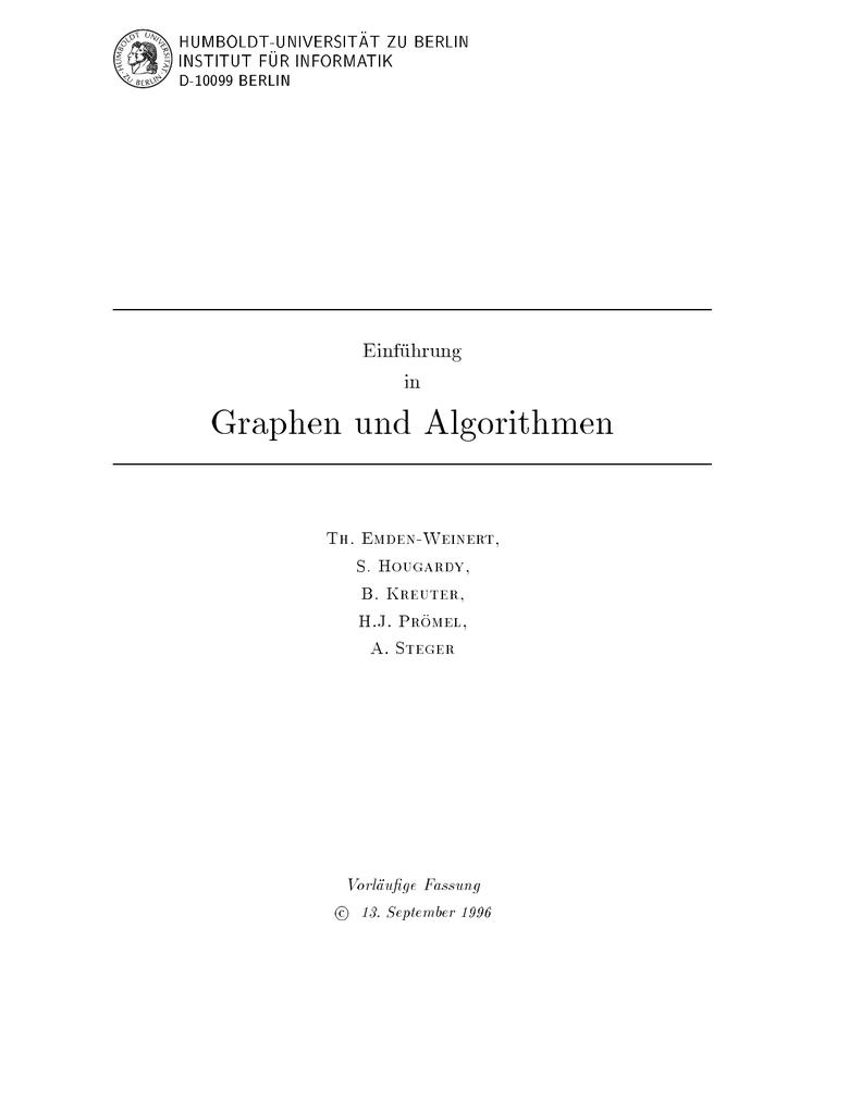 Einführung in Graphen und Algorithmen