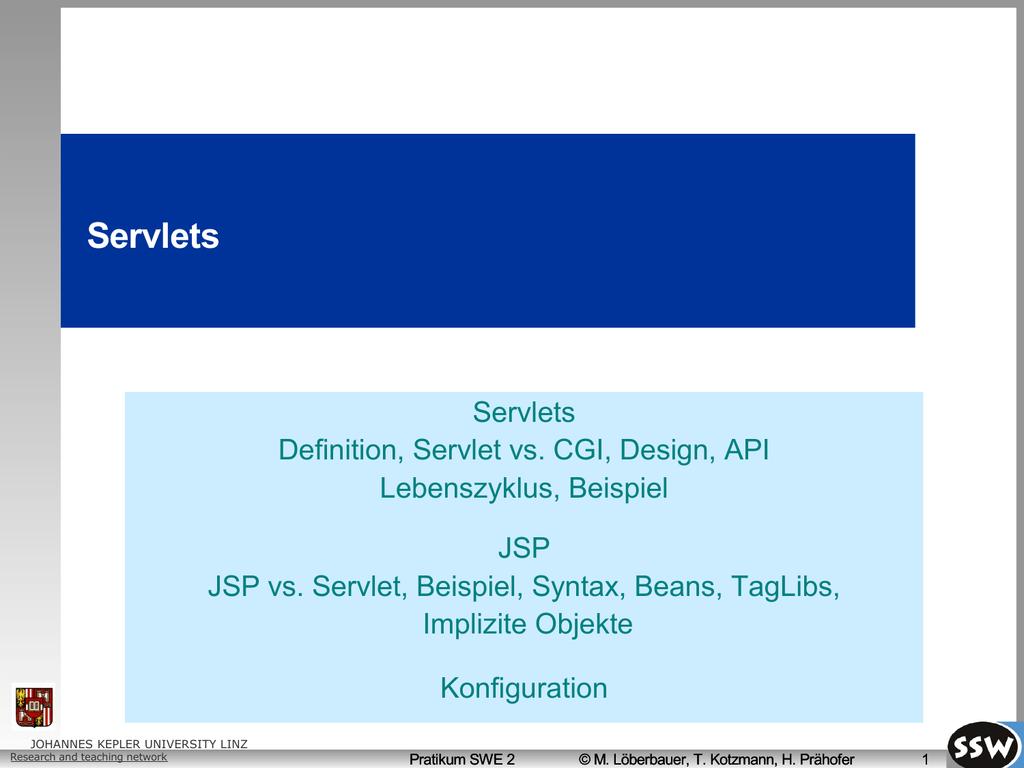 52 Servlet - ssw jku at