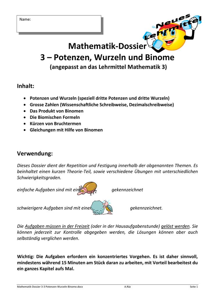Mathematik-Dossier 3 – Potenzen, Wurzeln und Binome