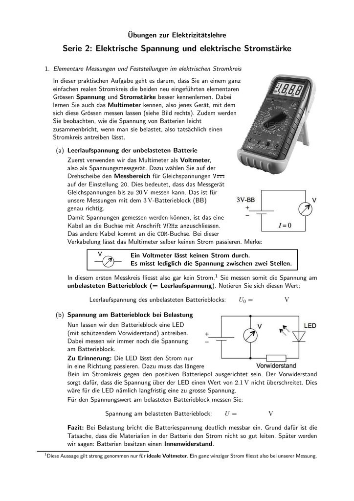 Serie 2: Elektrische Spannung und elektrische