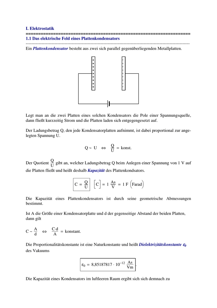 I. Elektrostatik