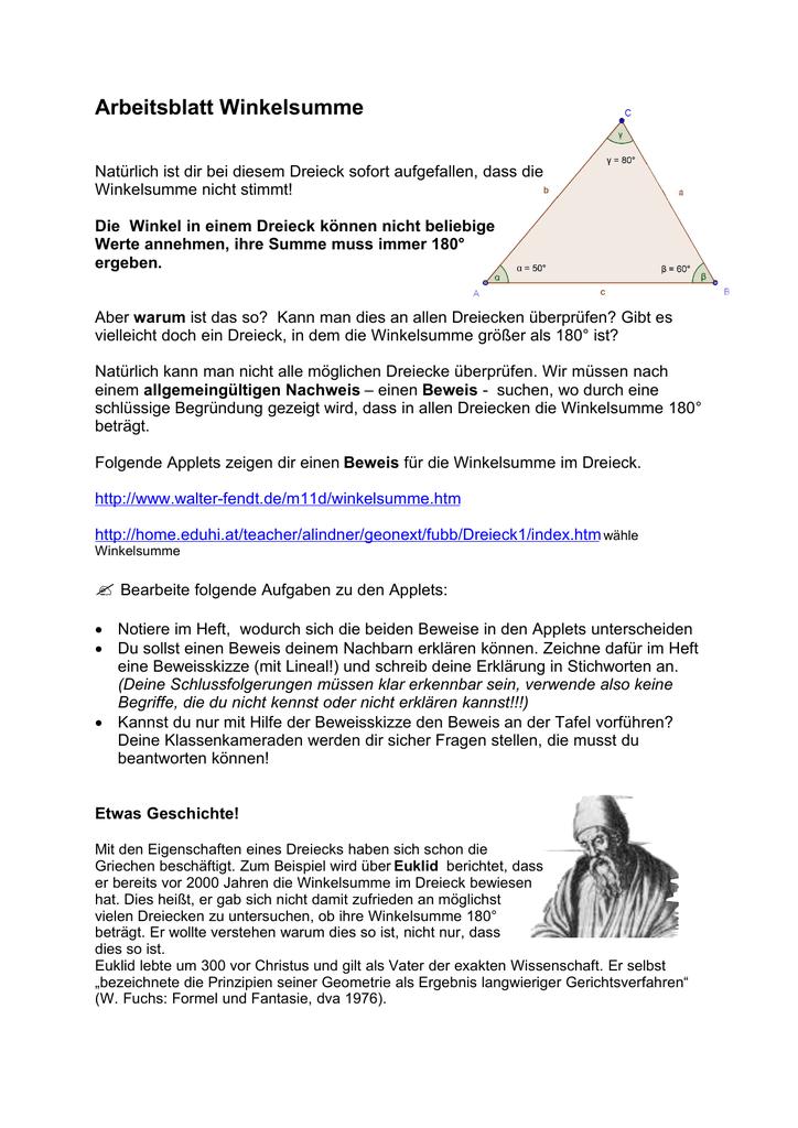 Fein Summe Der Winkel Eines Dreiecks Arbeitsblatt Fotos - Super ...