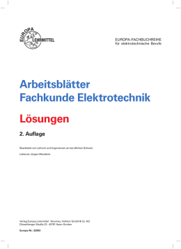 Arbeitsblätter Fachkunde Elektrotechnik Lösungen - Europa