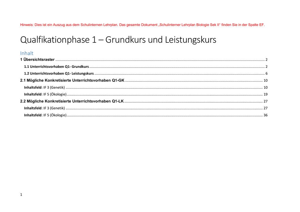 Qualfikationphase 1 – Grundkurs und - Silverberg