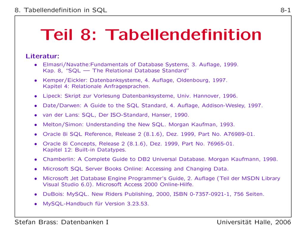 Teil 8: Tabellendefinition