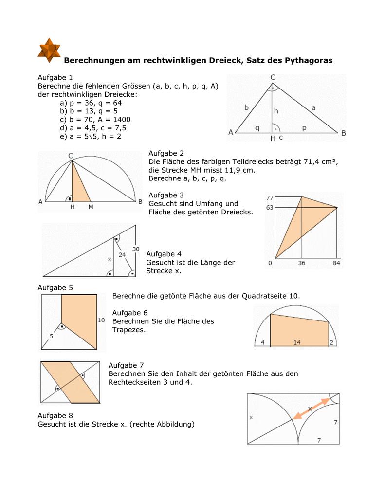 seiten rechtwinkliges dreieck berechnen